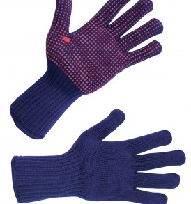 navy and red polka dot picking gloves