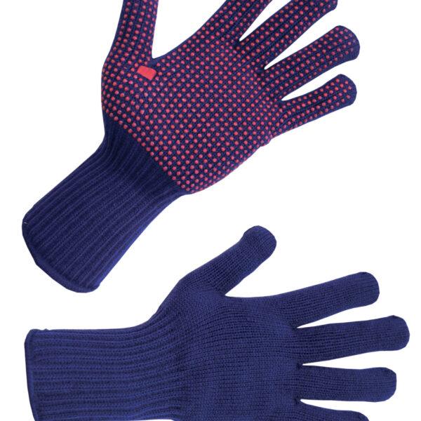 navy and red polka dot picking gloves