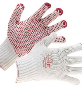 White cotton/nylon gloves with red polka dot palm