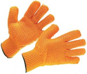 orange crisscross grip gloves