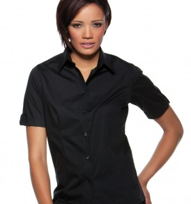 Ladies Mock Turn Back Cuffs Bar Shirt
