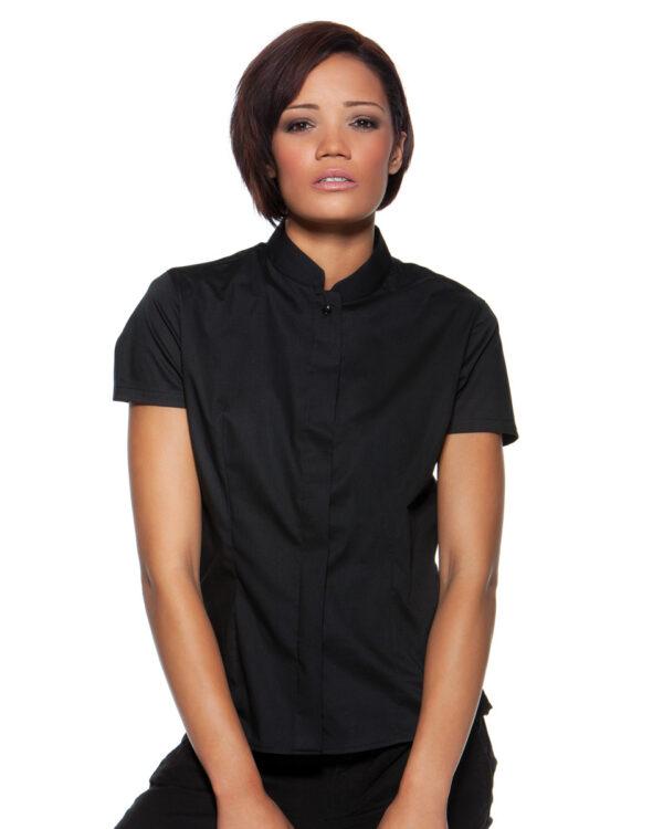 Ladies Short Sleeved Mandarin Collar Bar Shirt