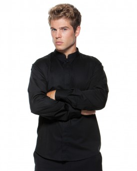 Men's Long Sleeved Mandarin Collar Bar Shirt
