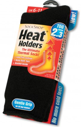 Heat Holder loop pile socks with reinforced heal and toe PACK OF 6