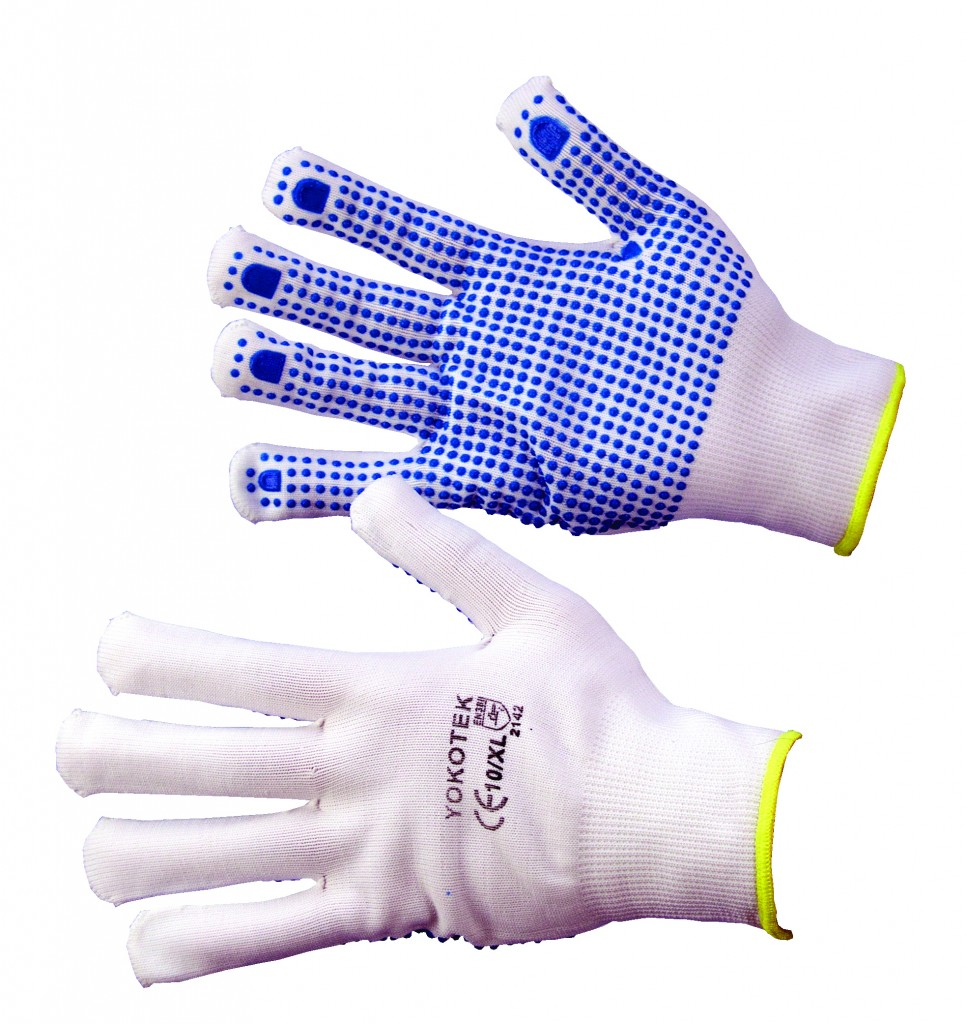 low lint gloves with pvc dotting to palm