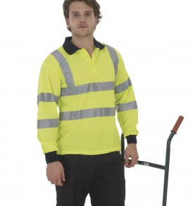 Yoko Hi-Vis 2 Band Long Sleeve Polo